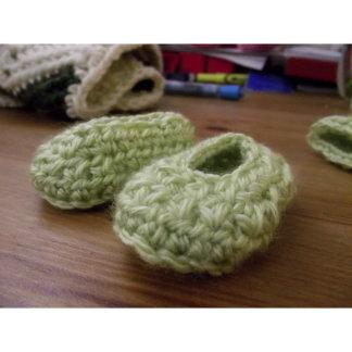 Grass Green Baby Shower Crochet Baby Booties