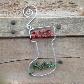 Personalized Aluminum Wire Stocking Ornament 2015