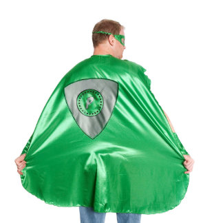 Adult Green Superhero Costume with Black Shield