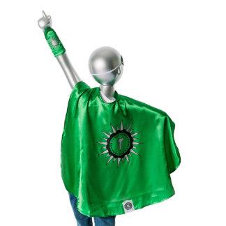 Youth Green Superhero Costume with Black Sunburst