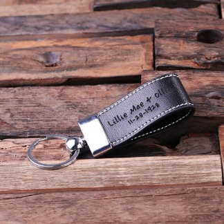 Custom Black Fashion Faux Leather Key Chain