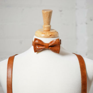 Brown Handcrafted Vintage Leather Bow Tie