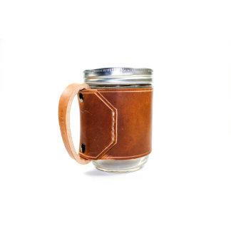 Brown Leather Wrap Mason Jar Drinking Mug