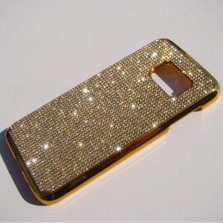 Samsung Galaxy S7 Gold Chrome Case w/Rhinestones