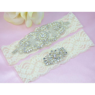 Pearl and Crystal Ivory Lace Wedding Garter Set
