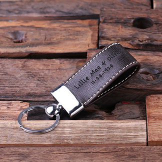 Dark Brown Fashion Faux Leather Key Chain