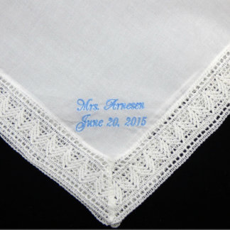 Blue Embroidered Chapel Lace Bridal Handkerchief