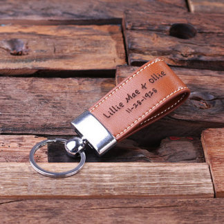 Custom Leather Engraved Light Brown Keychain