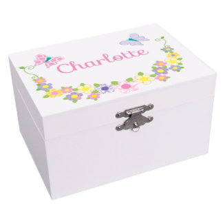Pastel Butterflies Ballerina Musical Jewelry Box