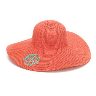 Coral Floppy Beach Hat w/Aqua Blue Monogram
