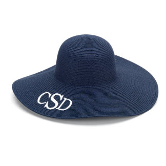 Navy Blue Floppy Beach Hat w/White Monogram