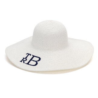 White Floppy Beach Hat w/Navy Blue Monogram
