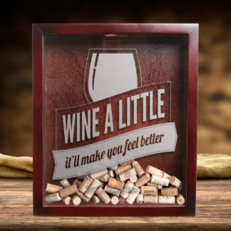 Wine Cork Shadow Box With Engraved Wine Quote