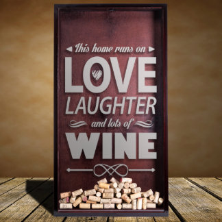 Large Wine Cork Shadow Box With Quote Engraving