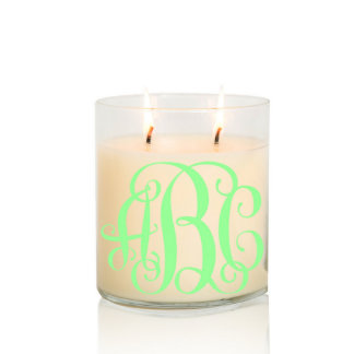 Scented Two Wick Monogram Candle w/Green Vine Font