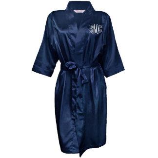 Navy Blue Monogram Bridal Party Satin Robe