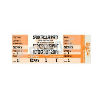 Orange Halloween Party Ticket Invitations