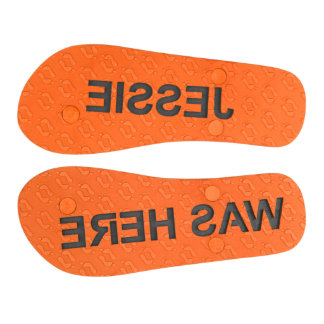 Personalized Sand Imprint Flip Flops Womens Orange