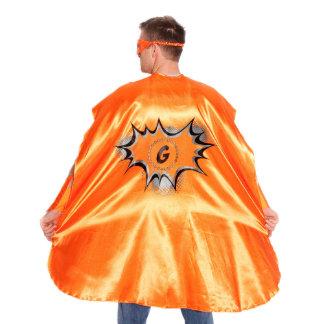 Adult Orange Superhero Costume with Black Pow