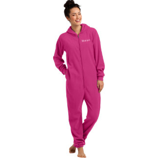 Embroidered Pink Adult Fleece One-Piece