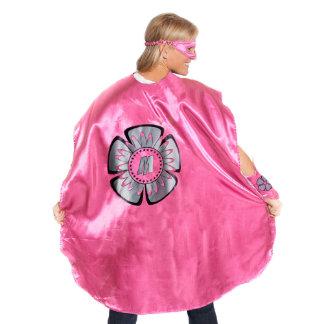 Adult Pink Superhero Costume with Black Flower
