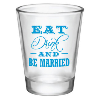 Custom Wedding Shot Glass with Blue Design