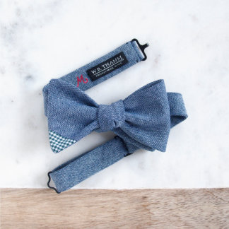 Ray Men's Chambray Bow Tie w/Gingham Plaid Accent
