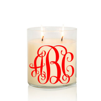 Scented Two Wick Monogram Candle w/Red Vine Font