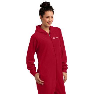 Red Microfleece Unisex Pajamas w/Hoodie