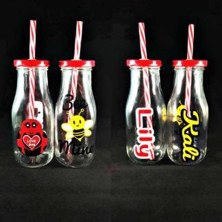 Valentine's Day Re-Usable 6 oz. Glass Milk Bottle