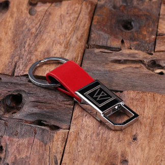 Customized Engraved Monogrammed Key Chain – Red