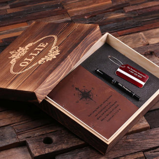 Red Personalized 4 pc Gift Set with Wood Box