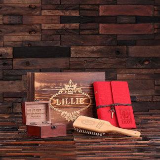 Gift Set for Her – Paddle Brush, Journal, Gift Box