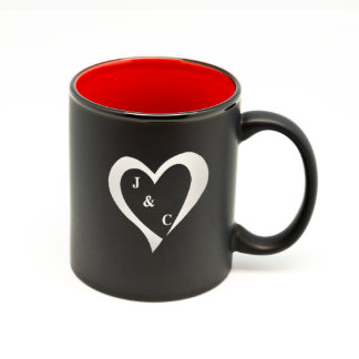 Heart and Initials Matte Black/Red Hilo Mug