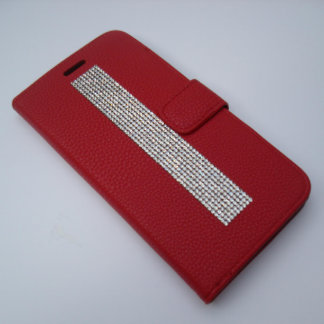 iPhone 6/6s Plus Red Wallet w/ Clear Crystals
