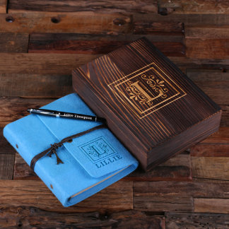Custom Electric Turquoise Felt Journal, Pen & Box
