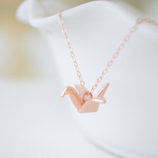 Rose Gold Origami Folded Crane Necklace