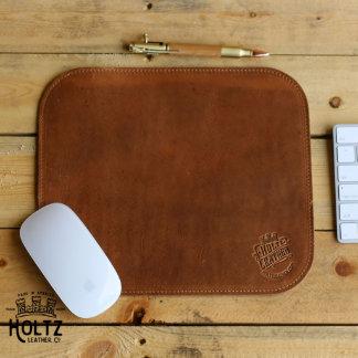 The Architect Fine Leather Saddle Tan Mouse Pad