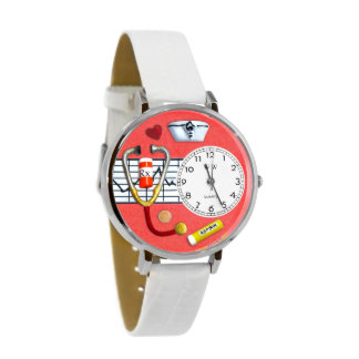 Red & White Hand-Crafted Dangle Charm Nurse Watch