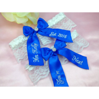 Personalized Embroidered Blue Ribbon Garter Set