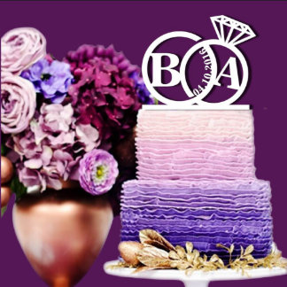 Personalized Ring w/Initials Cake Topper