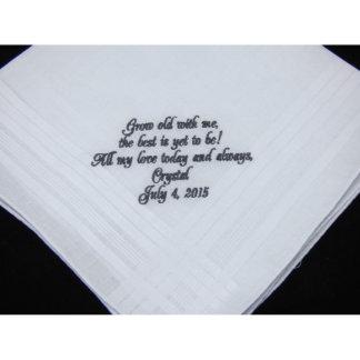 Embroidered Groom's Wedding Handkerchief