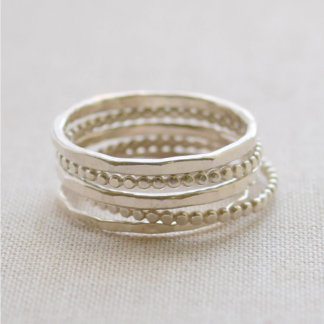 Sterling Silver Beaded Stacking Rings Set