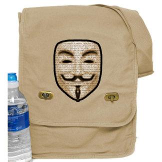 Tan Messenger Bag w/ Anonymous Vendetta Print
