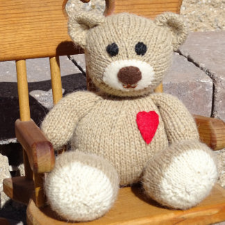 Hand Knitted Stuffed Teddy Bear with Heart