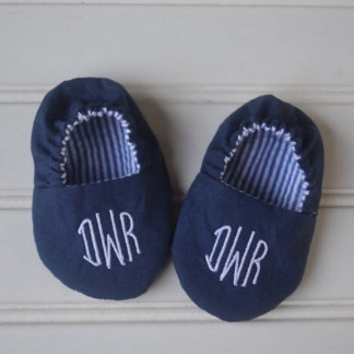Monogrammed Infant Shoes in Navy & White Striped