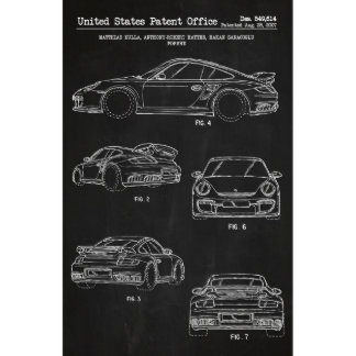 White on Black Porsche 911 Turbo 11x17 Print