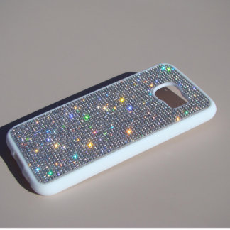 Samsung Galaxy S6 White Rubber w/ Clear Crystals