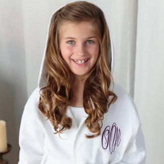 Flower Girl Waffle Robe, White