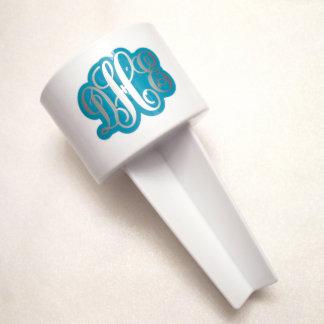 Teal & Silver Monogrammed Beach Spiker Cup Holder